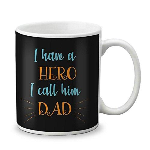 VESPL 325ml Ceramic Printed Coffee Mug for Father's Day, Black