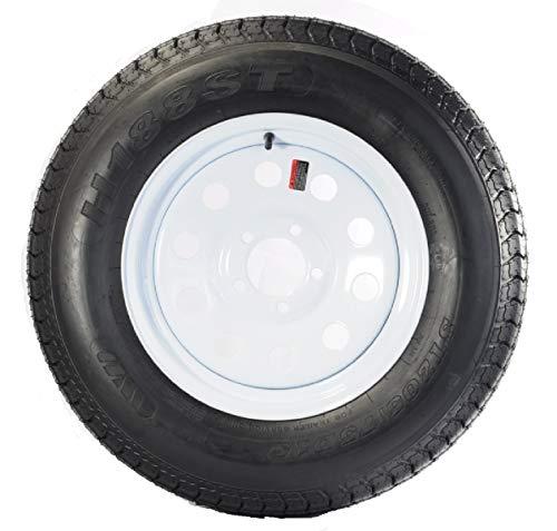 205/75D15 Trailer Tire with Rim (White Mod Rim) ()