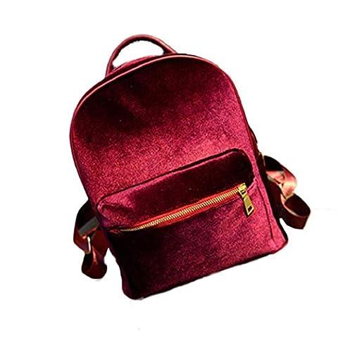 VIASA Women Gold Velvet Small Backpack School Book Shoulder Bag(Red ) - Velvet Lens