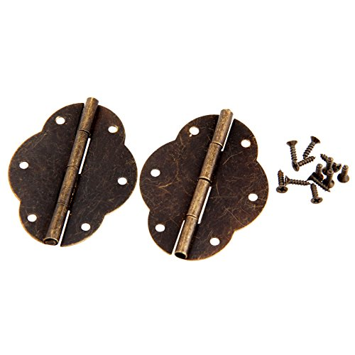 Dophee 2Pcs 56x42mm Antique Brass Butterfly Hinge Door Butt Hinge Dolls House Hinges for Drawer Cupboard Cabinet Wood Box (56 Nickel Antique Finish)