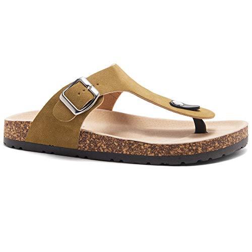 Herstyle Abella Women's Comfort Buckled Slip on Sandal Casual Cork Platform Sandal Flat Open Toe Slide Shoe Mustard 10.0