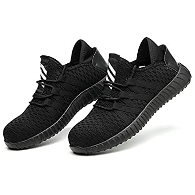 Loosnow Men Safety Shoes Steel Toe Puncture Proof Lightweight Breathable Sport Work Sneakers Black