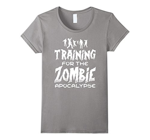 Women's Training For The Zombie Apocalypse Funny Workout T Shirt Small Slate (Zombie Women)