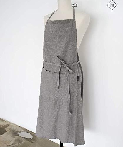 Linen 100% Premium Gift Chef Works Handmade Apron Japanese Style Cross Back Shape Cotton Apron-warm Grey Color