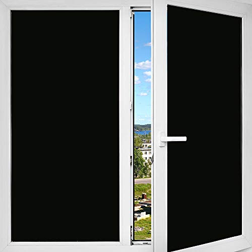 BDF 1BKOT Window Film Blackout (Non Adhesive Static Cling) 100% Light Blocking - Easy Installation, Removal & No Residue- 36in X 14ft ()