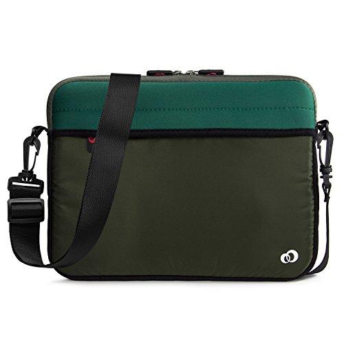 - 10 - 11 inch Slim Neoprene Messenger Laptop & Tablet Bag, Water Resistant Cover Sleeve Case for Apple MacBook, iPad Pro, Kindle 10 (Olive Green)