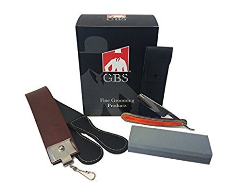 GBS Straight Razor 5/8 Multi Wood Handle, 20 Leather Strop, 6 Sharpening Stone and Straight Razor Case 20 Leather Strop