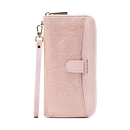 Clutch Wallets for Women, Ladies Cell Phone Purse Handbag, Aeeque Large Capacity PU Leather Credit Card Holder Wallet Case for iPhone XR/X/6 6s 7 8 Plus/5s SE/Samsung Note 8 S9 S8 S7 J3 J7, Pink