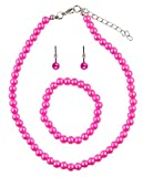NYFASHION101 Girls' Children's Simulated Pearl Necklace with Stretch Bracelet and Ball Stud Earrings