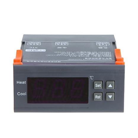 KKmoon - Controlador de temperatura digital con función de alarma, 10A, 220V, Thermocouple