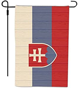 Rikki Knight Slovakia Flag on Distressed Wood Design Decorative House or Garden Full Bleed Flag, 12 by 18-Inch