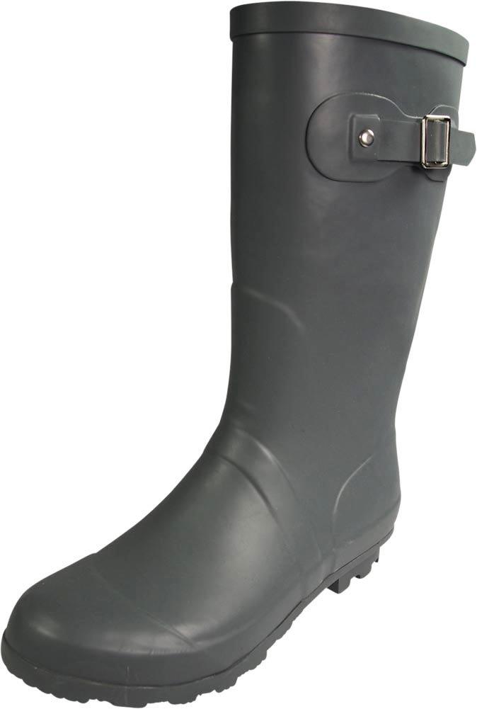 NORTY - Womens Hurricane Wellie Solid Matte Mid-Calf Rain Boot, Matte Charcoal 39968-9B(M) US