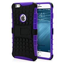 iPhone 6 Plus Case, MagicMobile® Hybrid Armor Heavy Duty Case for iPhone 6 Plus Shockproof Impact Resistant Dual Hard Black Plastic Layer and Purple Flexible TPU Gel Skin Cover iPhone 6 Plus Kickstand Case with Screen Protector Film and Stylus [Compatible Only with iPhone 6 Plus (5.5) ]