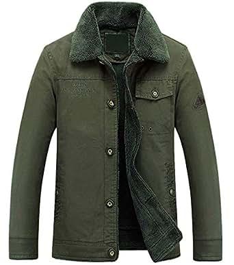 Amazon.com: ssjjsacv Men's Winter Single Breasted Sherpa