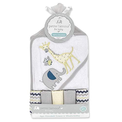 Safari Washcloth - Hooded Towel Washcloths 6 Piece Bath Set - Safari Themed White/Grey Baby Boy Shower Gift