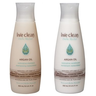 Live Clean Exotic Nectar Argan Oil Restorative Shampoo and Exotic Nectar Argan Oil Restorative Conditioner with 100% Pure Argan Oil, Grape Seed Oil and Olive Oil, 12 oz each
