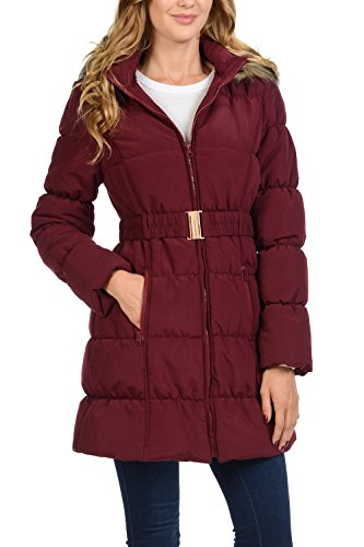 Auliné Collection Women's Faux Fur Quilted Insulated Coat Puffer Jacket Parka Fur Hood Burg 1XL Ladies Quilted Parka Jacket