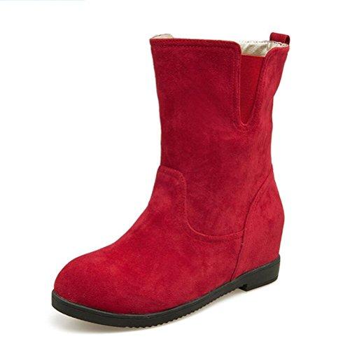 Ei&iLI Bottes femme Automne / Hiver confort PU robe augmenté Noir / Marron / Rouge / Camel Walking , red , 37