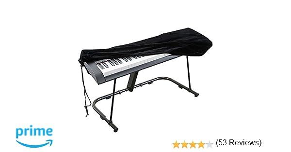 Cubierta para el teclado de piano, cubierta protectora tramo de terciopelo con cordón elástico ajustable para 76 teclas del teclado, piano digital, Yamaha, ...
