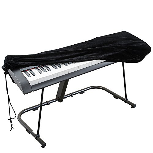 Check Out This Piano Keyboard Cover, Stretchable Velvet Dust Cover with Adjustable Elastic Cord and Locking Clasp for 88 Keys Electronic Keyboard, Digital Piano, Yamaha, Casio, Roland, Consoles and more(Black)