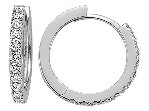 Birgie Diamants et Bijoux -Boucles d'Oreilles Anneaux Diamants-Femme- or Blanc 204E0062