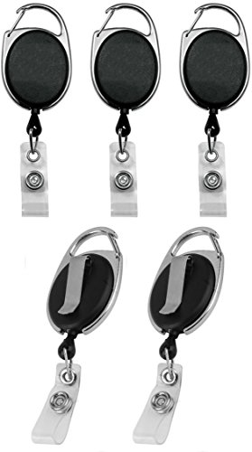 Blue Shoe Guys Premium Heavy Duty Retractable Badge Reels for Key & ID Cards (Industrial Strength Zinc Alloy with Nylon Reel and Back Clip Holder) | 5-Pack