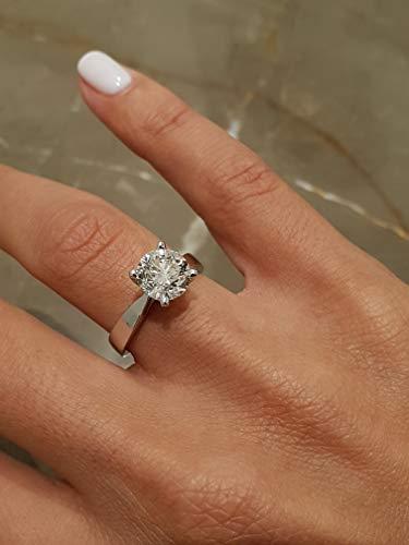 2 CARAT ROUND G VS2 DIAMOND SOLITAIRE ENGAGEMENT RING - 18K WHITE GOLD