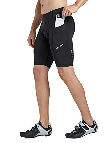 Baleaf Men's Cycling Shorts 3D Padded Bicycle Bike Pants with Side Pockets, UPF 50+ and Quick-Dry Black Size M