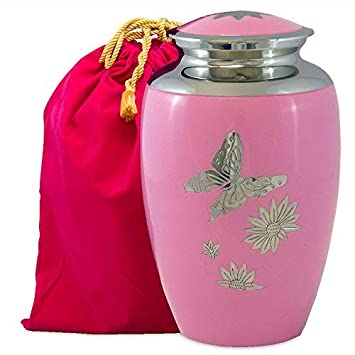 Pink Butterfly Lovely Adult Cremation Urn for Human Ashes – This Large Pink Urn is Adorned with Butterfly s – It s Simple Design Brings Comfort While Protecting Your Loved Ones Remains- w Velvet Bag