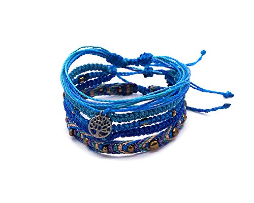 (Tree of Life Silver Charm Multi Strand String Bracelet Triple Strand Woven Braided Bracelet Gold Beaded Macramé Bracelet Multicolored Layered Stackable 3 PC Pull Tie Jewelry Set (Blue/Mint/Lavender))