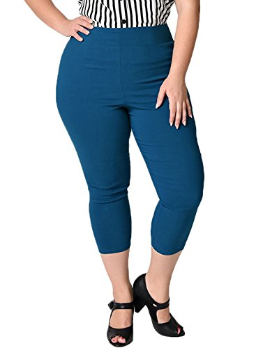 7th Element Womens Plus Size Capris High Waisted With High Stretchy Pants (3XL,Retro Blue)