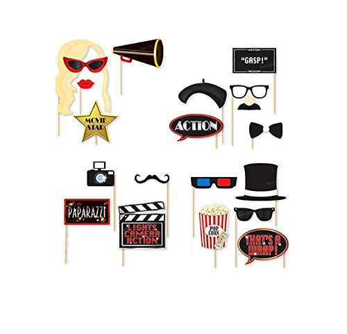 Hollywood Photo Booth Props 18 DIY Kits Party Photo Booth Props on a Stick