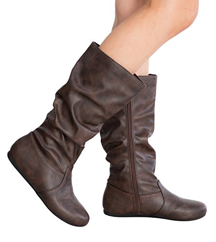 Women's Round Toe Slouchy Boot with Buckle (6, Premium New Brown Pu) - Junior Boots