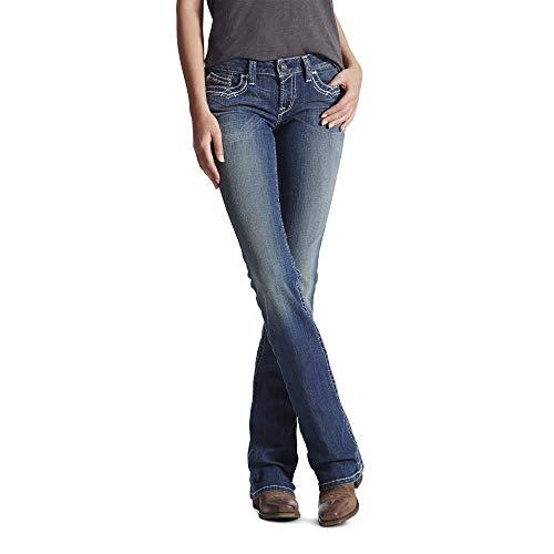 Ariat Women's R.E.A.L. Mid Rise Bootcut Jean, Marine, 28 Long (Dark Denim Mid Rise Boot Cut Jeans)
