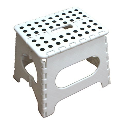 "Jeronic SS051WR 11"" Folding Stool for Adults & Kids, Kitchen Stools, Garden Stool, Holdup to 200 lb., White"