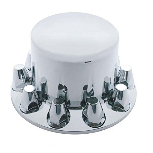 United Pacific Chrome Plastic Rear Axle Cover W/ Removable Hub Cap - 33Mm Thread-On Nut -