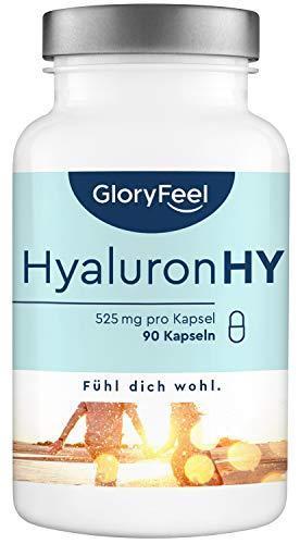 Hyaluronsäure Kapseln - 525mg Hochdosiert je Kapsel - 90 vegane Kapseln (3 Monate) 500-700 kDa - Laborgeprüft ohne Zusätze hergestellt in Deutschland