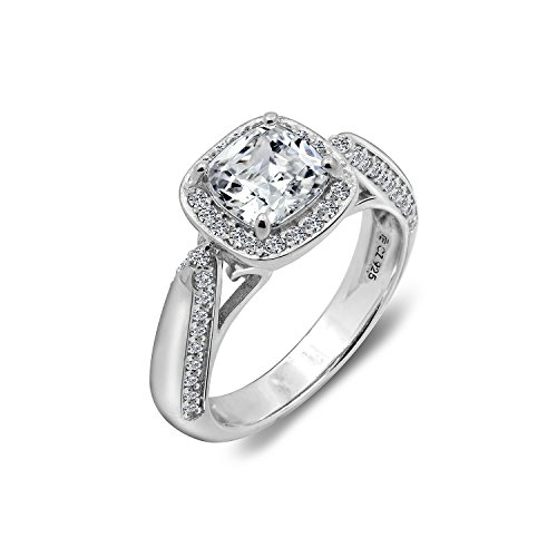 - Diamonbliss Sterling Silver or 14K Rose Gold Clad Cubic Zirconia Cushion Cut Ring - Sterling,Size 6
