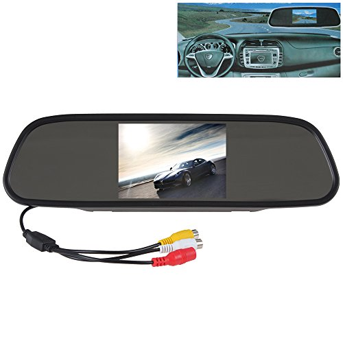 (SallyBest® 5 Inch HD 16:9 TFT Color LCD Screen Wide View Angle Car Rear View Mirror Monitor Headrest in-mirror Monitor Support 2 Video Input for Parking Backup Camera DVD VCR)