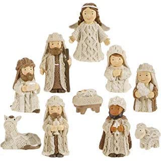 RAZ Imports Knit Look Resin 3 Inch Miniature 10 Pc Nativity Set