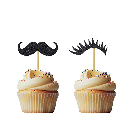 - Morndew 24 PCS Black Glitter Mustache and Lashes Gender Reveal Cupcake Topper for Baby Shower Party Birthday Party Decorations