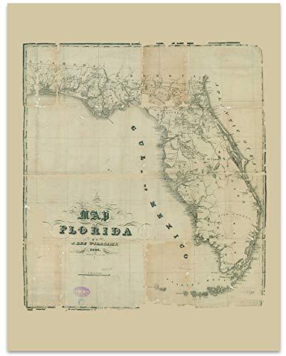 Florida Vintage Map Circa 1837-11 x 14 Unframed Print - Great Housewarming Gift. Florida Themed Office Decor.