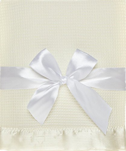 Thermal Waffle Weave Baby Blanket with Satin Nylon Trim (Ivory Satin Trim)