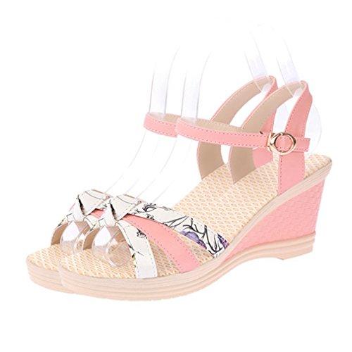 Cybling Sandalias De Plataforma De Cuña De Punta Abierta De Moda Para Mujeres Correa De Playa Zapatos Rosa