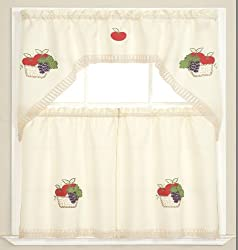 Comfy Deal 3 Pieces Embroidery Kitchen/Cafe Curtain Tier and Swag Set
