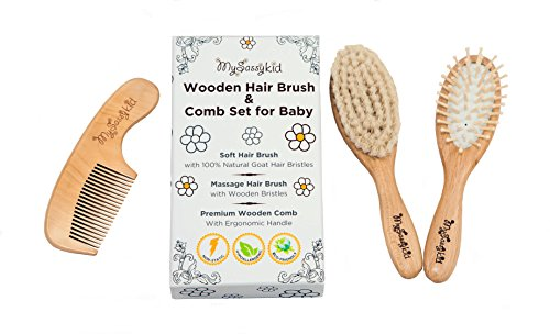 Yohino Wooden Baby Hair Brush and Comb Set with Natural Goat Hair, Helps Prevent Cradle (Girl Comb And Brush Set)