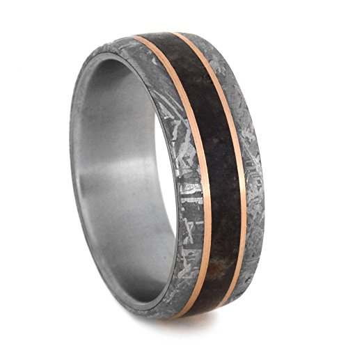 Gibeon Meteorite, Dinosaur Bone, 14k Rose Gold 8mm Comfort-Fit Brushed Titanium Band, Size 9.5 by The Men's Jewelry Store (Unisex Jewelry)