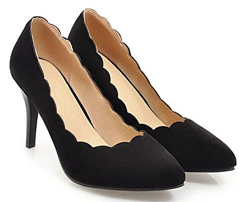 Easemax Femme Simple Chaussure Pointue Stiletto Fermeture D'orteil Escarpins Noir cGiEg