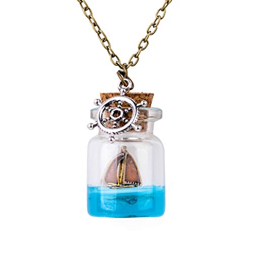 - Vintage Mermaid Tears Star Vial Necklace Blue Sea Ocean Glass Wish Bottle Necklaces & Pendants Unisex Jewelry