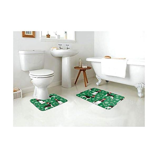 Tina6qfhgx English Springer Spaniel Santa Christmas Bathroom Contour Rugs Combo Set of Soft Shaggy Non Slip Bath Shower Mat and U-Shaped Toilet Floor Rug 3